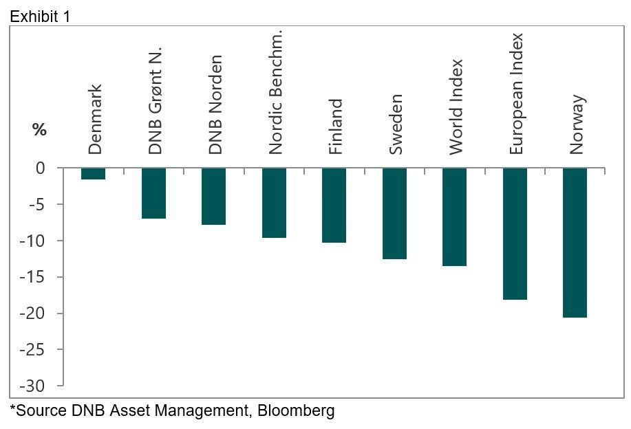 Bar graph showing the performance of the DNB Nordic strategy funds relative to the Nordic markets during the recent market turmoil.