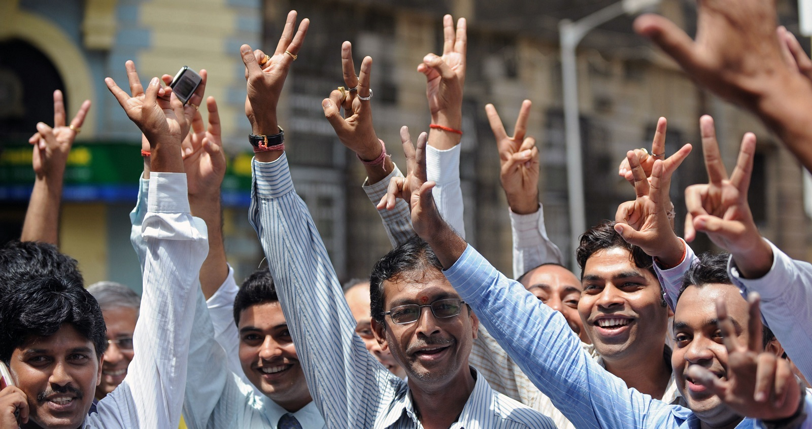 Indian Stock Brokers outside Mumbai Stock Exchange